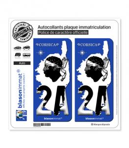 2A Corsica - Carte | Autocollant plaque immatriculation
