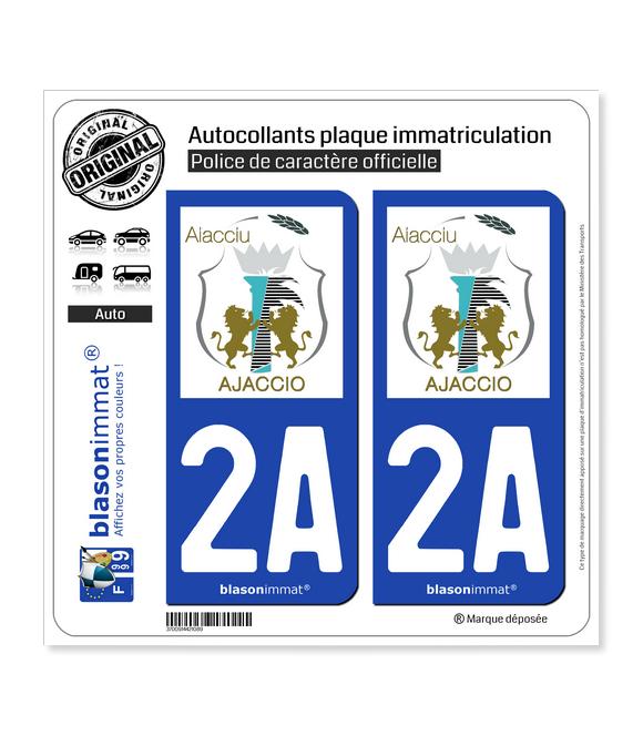 2A Ajaccio - Ville | Autocollant plaque immatriculation