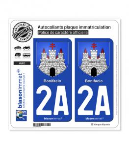 2A Bonifacio - Armoiries | Autocollant plaque immatriculation