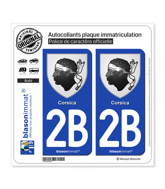 2B Corsica - Armoiries | Autocollant plaque immatriculation