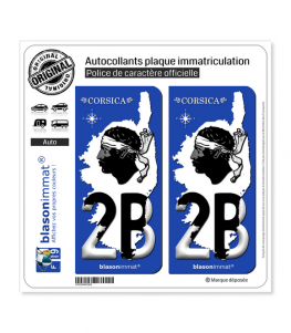 2B Corsica - Carte | Autocollant plaque immatriculation