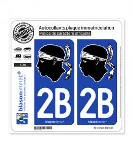 2B Corsica - Tête de Maure | Autocollant plaque immatriculation