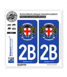 2B Calvi - Commune | Autocollant plaque immatriculation