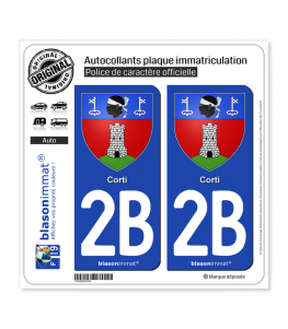 2B Corti - Armoiries | Autocollant plaque immatriculation