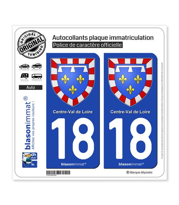 18 Centre-Val de Loire - Armoiries | Autocollant plaque immatriculation
