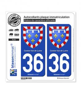 36 Centre-Val de Loire - Armoiries | Autocollant plaque immatriculation