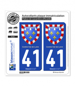 41 Centre-Val de Loire - Armoiries | Autocollant plaque immatriculation