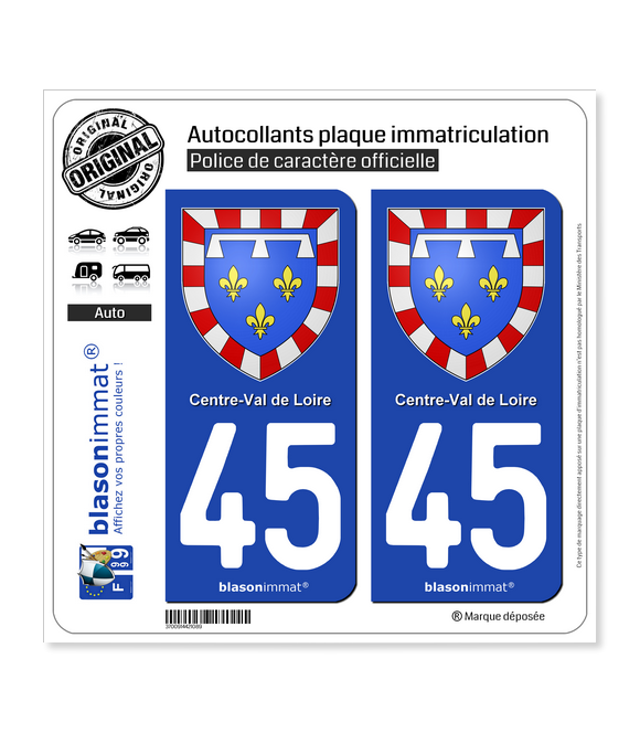 45 Centre-Val de Loire - Armoiries | Autocollant plaque immatriculation