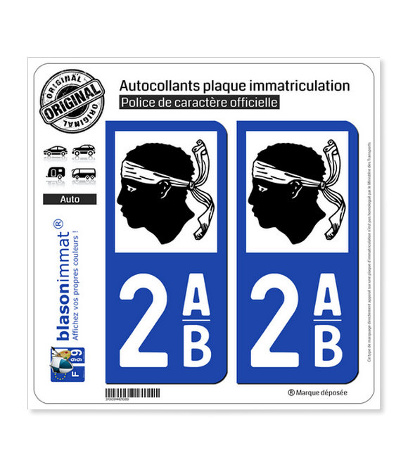 2AB Corse - LogoType | Autocollant plaque immatriculation