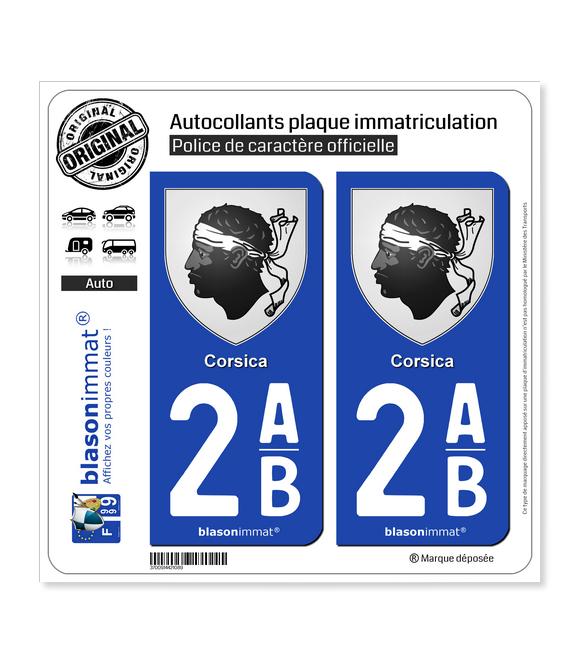 2AB Corsica - Armoiries | Autocollant plaque immatriculation