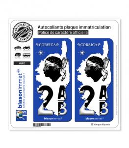 2AB Corsica - Carte   Autocollant plaque immatriculation