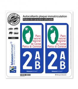 2AB Corsica - Parc Naturel Régional   Autocollant plaque immatriculation