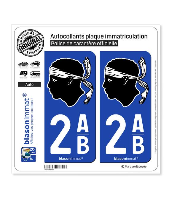 2AB Corsica - Tête de Maure | Autocollant plaque immatriculation