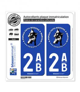 2AB Ribellu Corse - Patriottu  Autocollant plaque immatriculation