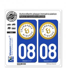 08 Champagne-Ardenne - Tourisme | Autocollant plaque immatriculation