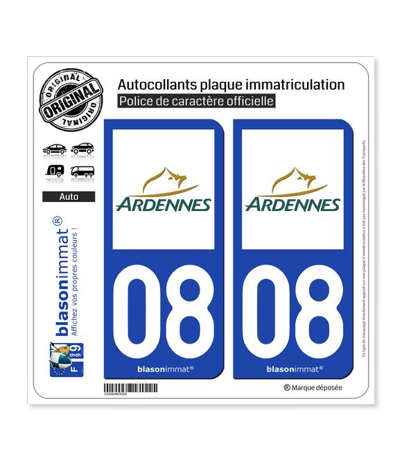 08 Ardennes - Département | Autocollant plaque immatriculation