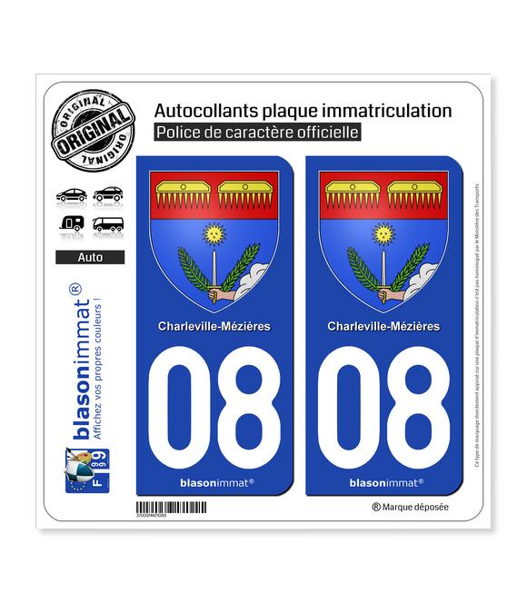 08 Charleville-Mézières - Armoiries | Autocollant plaque immatriculation