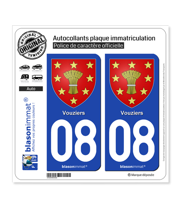 08 Vouziers - Armoiries | Autocollant plaque immatriculation