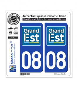 08 Grand Est - LogoType | Autocollant plaque immatriculation