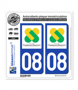 08 Champagne-Ardenne - LogoType | Autocollant plaque immatriculation