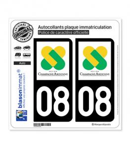 08 Champagne-Ardenne - LogoType | Autocollant plaque immatriculation