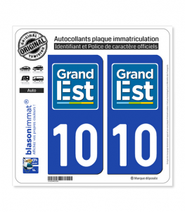 10 Grand Est - LogoType | Autocollant plaque immatriculation