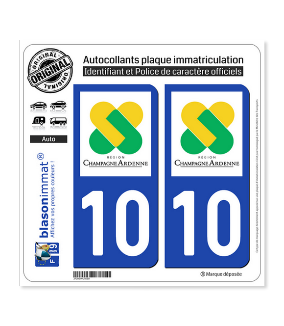 10 Champagne-Ardenne - LogoType | Autocollant plaque immatriculation