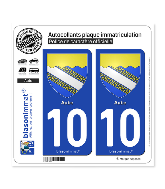 10 Aube - Armoiries | Autocollant plaque immatriculation