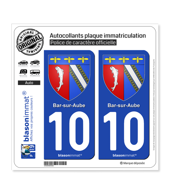 10 Bar-sur-Aube - Armoiries | Autocollant plaque immatriculation