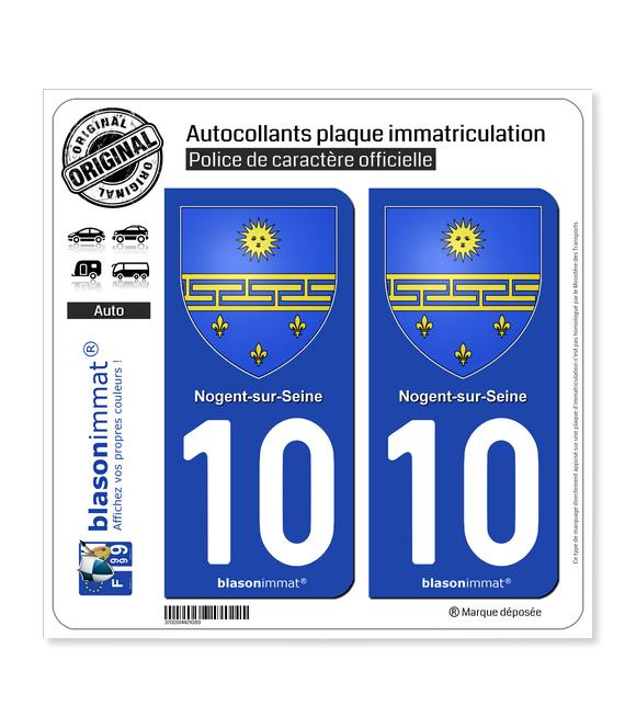 10 Nogent-sur-Seine - Armoiries   Autocollant plaque immatriculation