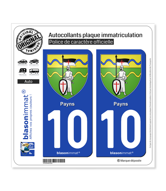 10 Payns - Armoiries | Autocollant plaque immatriculation