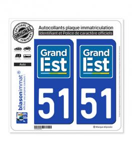 51 Grand Est - LogoType | Autocollant plaque immatriculation