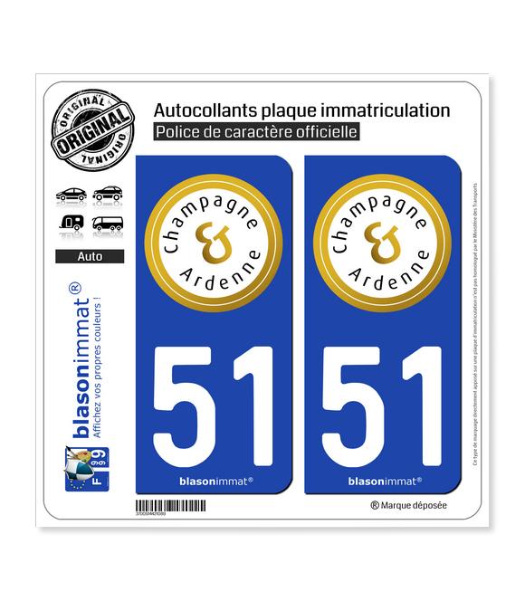 51 Champagne-Ardenne - Tourisme | Autocollant plaque immatriculation