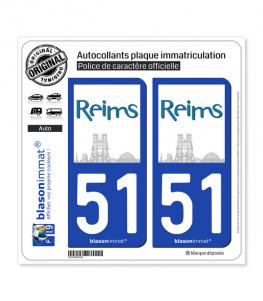 51 Reims - Ville | Autocollant plaque immatriculation