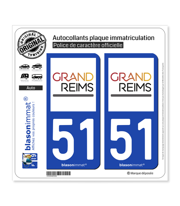 51 Reims - Agglo | Autocollant plaque immatriculation