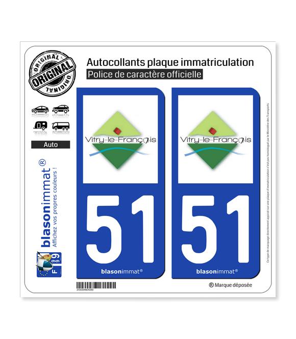 51 Vitry-le-François - Agglo | Autocollant plaque immatriculation