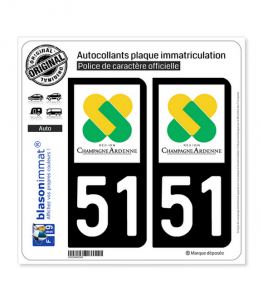 51 Champagne-Ardenne - LogoType | Autocollant plaque immatriculation