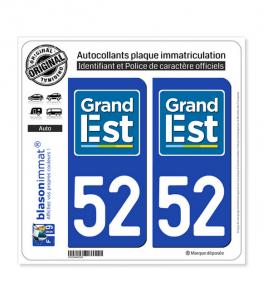 52 Grand Est - LogoType | Autocollant plaque immatriculation