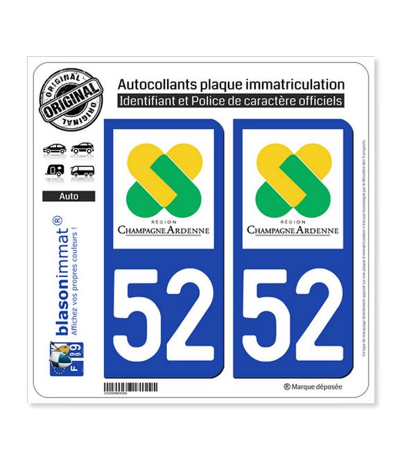 52 Champagne-Ardenne - LogoType | Autocollant plaque immatriculation