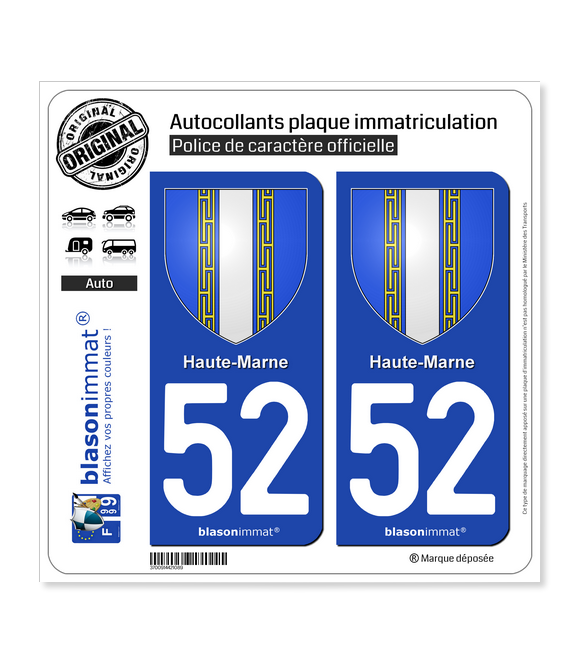 52 Haute-Marne - Armoiries | Autocollant plaque immatriculation