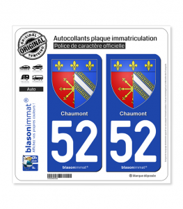 52 Chaumont - Armoiries | Autocollant plaque immatriculation