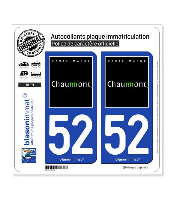 52 Chaumont - Ville | Autocollant plaque immatriculation