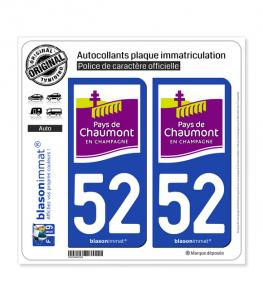 52 Chaumont - Tourisme | Autocollant plaque immatriculation