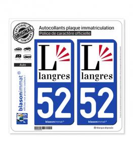 52 Langres - Ville | Autocollant plaque immatriculation
