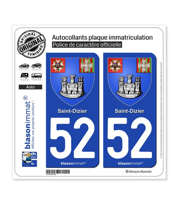 52 Saint-Dizier - Armoiries | Autocollant plaque immatriculation