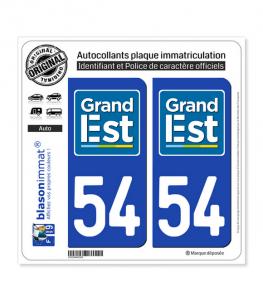 54 Grand Est - LogoType | Autocollant plaque immatriculation