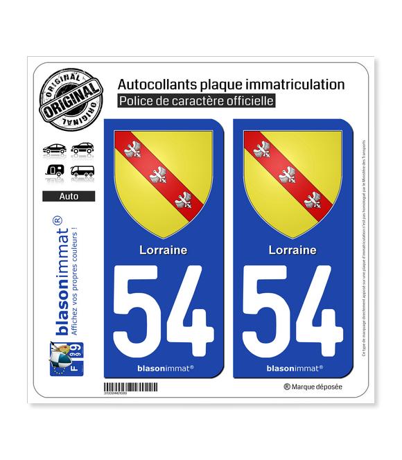 54 Lorraine - Armoiries | Autocollant plaque immatriculation