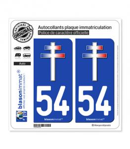 54 Croix de Lorraine | Autocollant plaque immatriculation