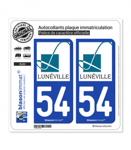 54 Lunéville - Ville | Autocollant plaque immatriculation