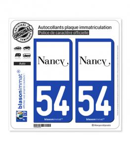 54 Nancy - Ville | Autocollant plaque immatriculation